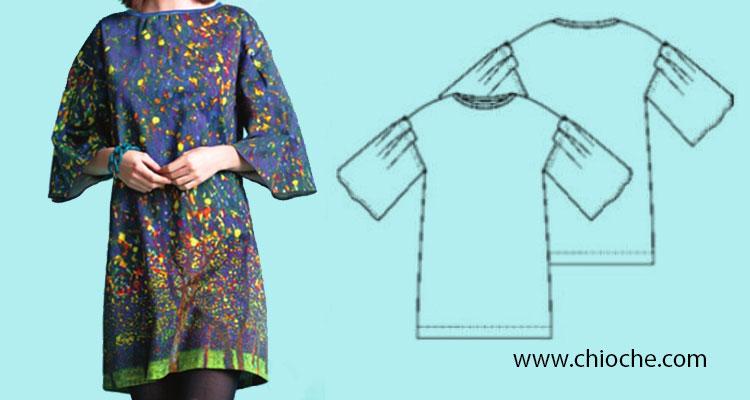 دوخت پیراهن آستین دار زنانه بدون نیاز به الگو