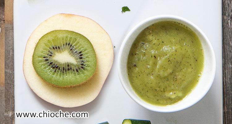 پوره کدو سبز – کیوی و سیب باضافه نعناع